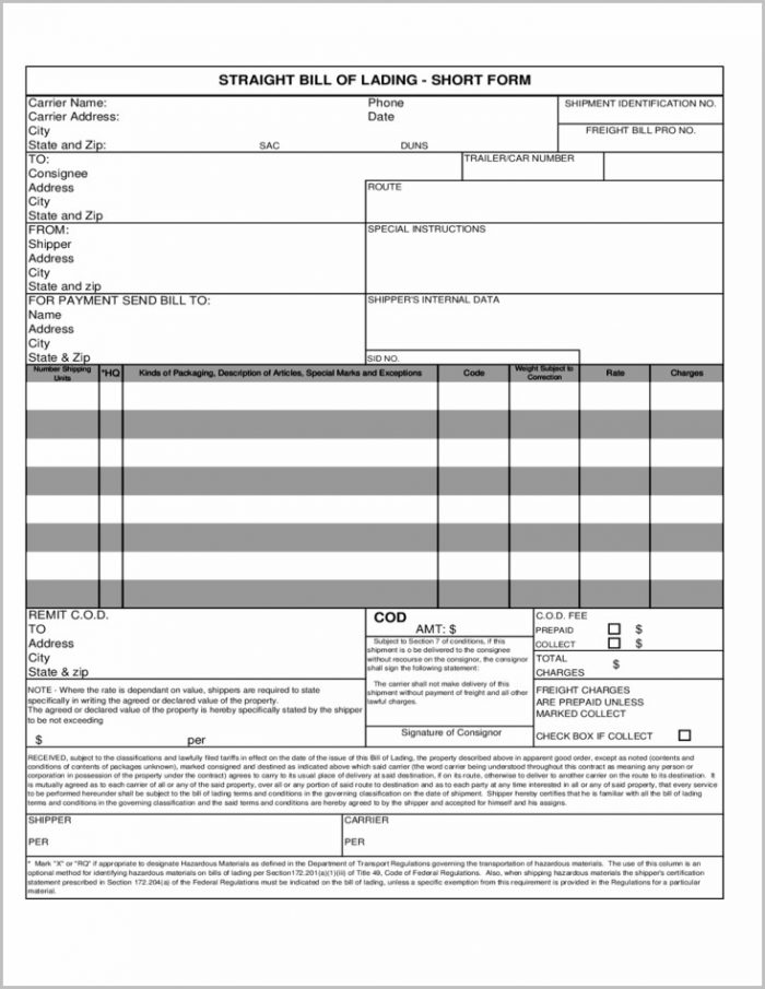 Bill Of Lading Form Usa Templates-1  Resume Examples