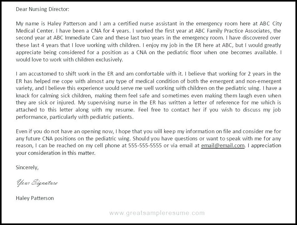 Cna Resume Cover Letter Template Cover-letter  Resume Examples