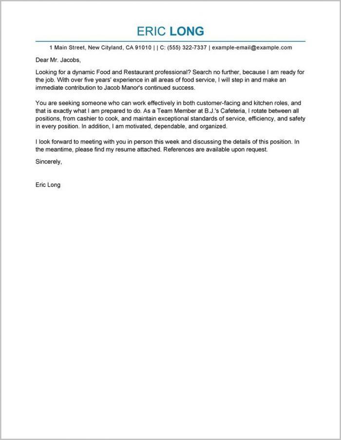 Cover Letter For Resume Restaurant Manager Cover-letter  Resume