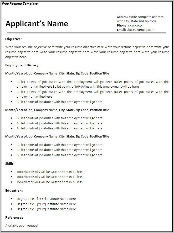 Free Printable Resume Templates For Word Templates-1  Resume Examples