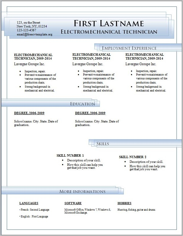 Free Resume Templates Microsoft Office Word 2007 Templates-1