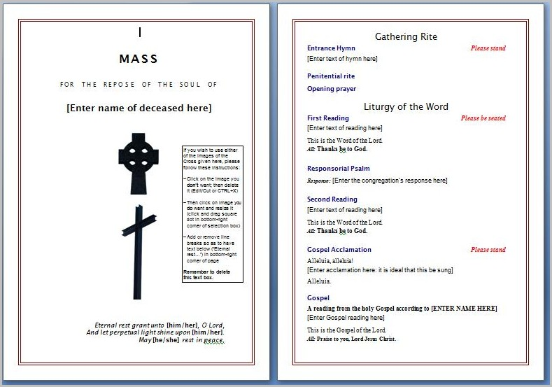 Funeral Program Template Word Free Templates-1  Resume Examples