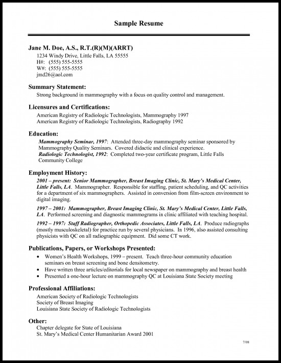 Medical Technologist Resume Sample Resume Builder 2016 2017 Sample
