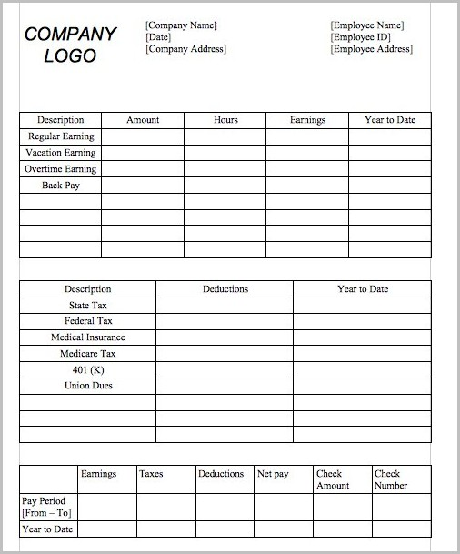 microsoft office pay stub templates
