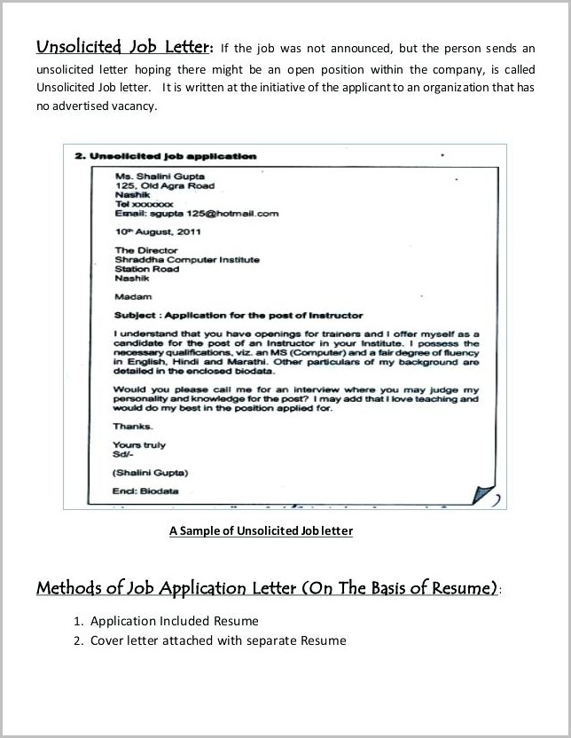 Cover Letter Template For Unsolicited Resume Cover-letter  Resume