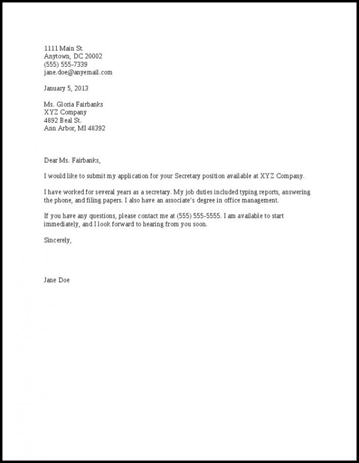 Simple Cover Letter Free Sample Cover-letter  Resume Examples