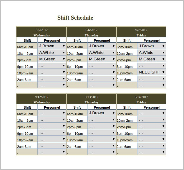 8 Hour Rotating Shift Schedule Template Templates-1  Resume Examples