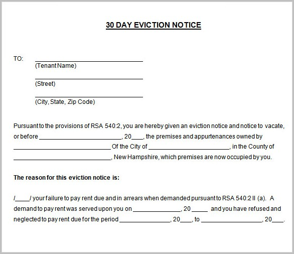 Free 30 Day Notice Of Eviction Form Form  Resume Examples