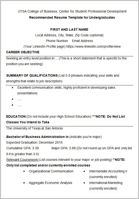 Basic Resume Template For College Students Templates-1  Resume Examples