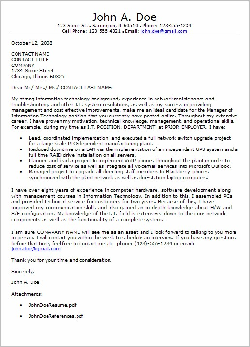 Information Technology Cover Letters For Resumes Examples Cover