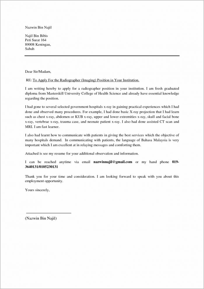 Cover Letter For Job Application Malaysia - Cover letter job