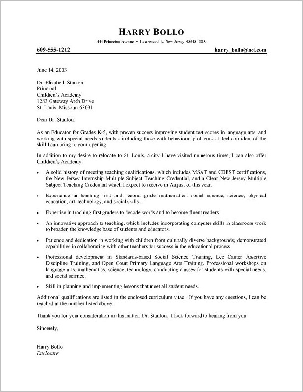 Template Cover Letter Teacher Cover-letter  Resume Examples