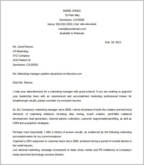 Cover Letter Free Template Word Cover-letter  Resume Examples