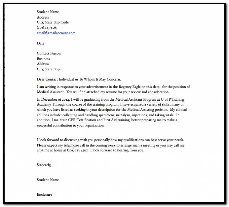 Examples Of Cover Letters For Resumes In The Medical Field Cover
