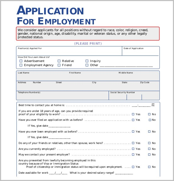 Free Printable Application Form Job-applications  Resume Examples
