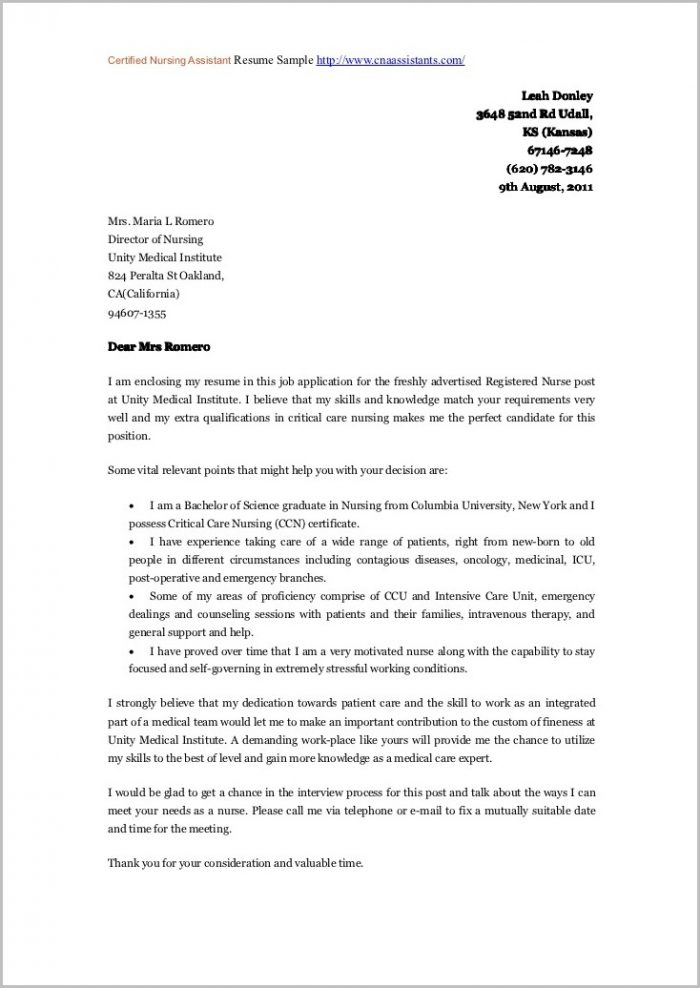 Free Cover Letter Examples For Nursing Assistant Cover-letter