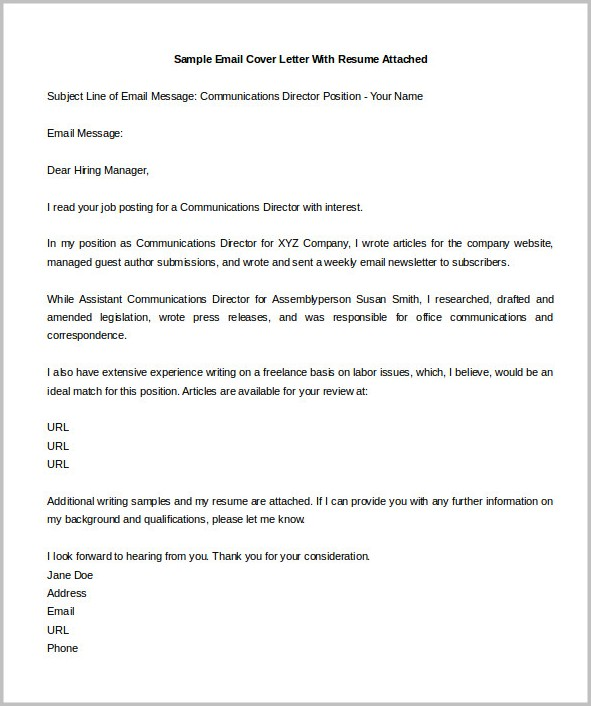 cover letter with resume attached - Canasbergdorfbib