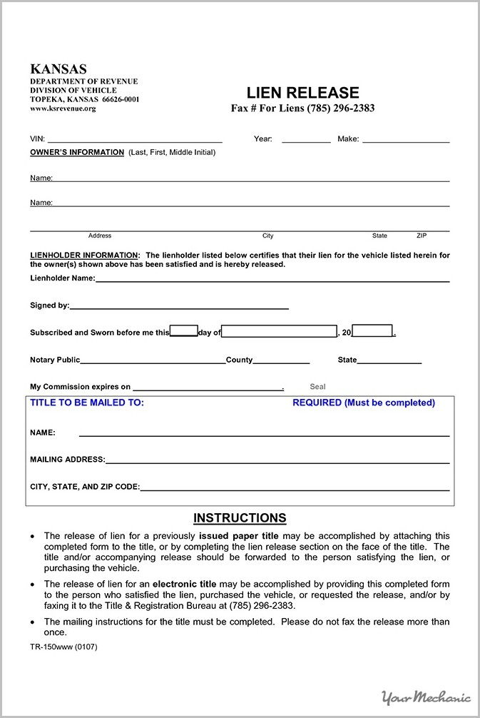 Georgia Lien Release Form Vehicle Form  Resume Examples
