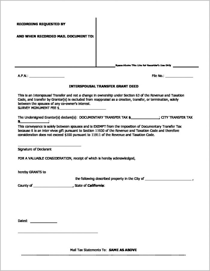 Grant Deed Form Los Angeles Templates-1  Resume Examples