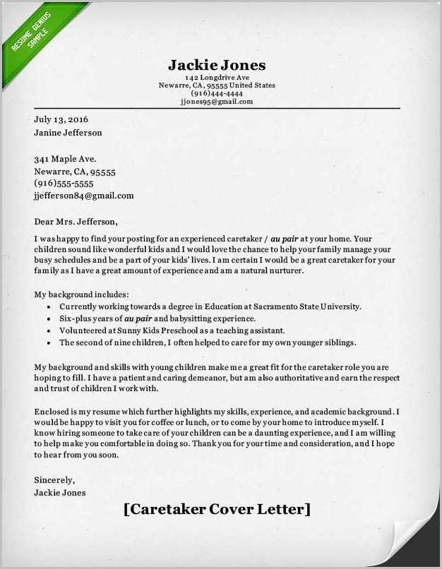 Elderly Caregiver Sample Cover Letter Cover-letter  Resume Examples