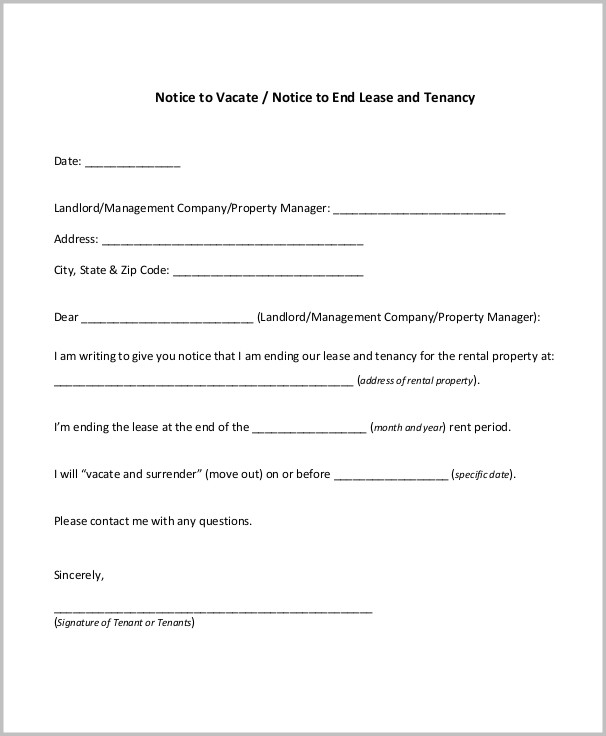 Notice To Vacate Form Tenant Form  Resume Examples