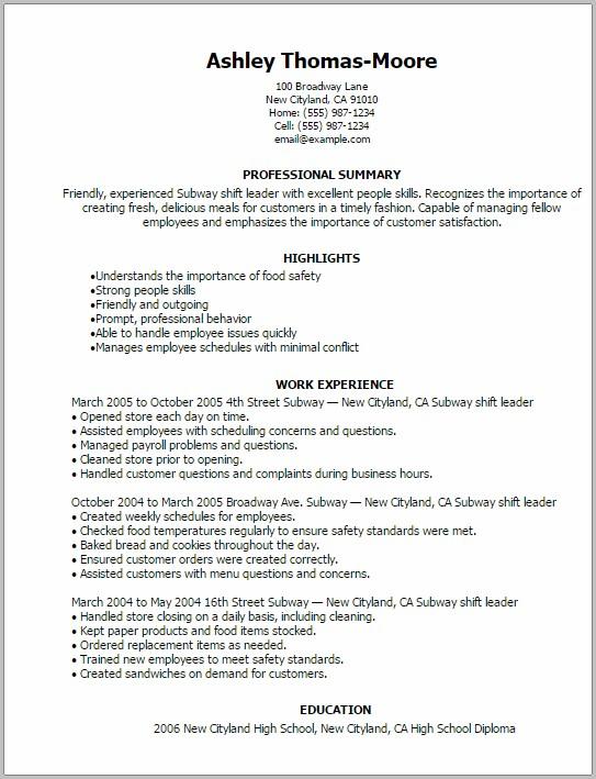 resume examples for sandwich maker
