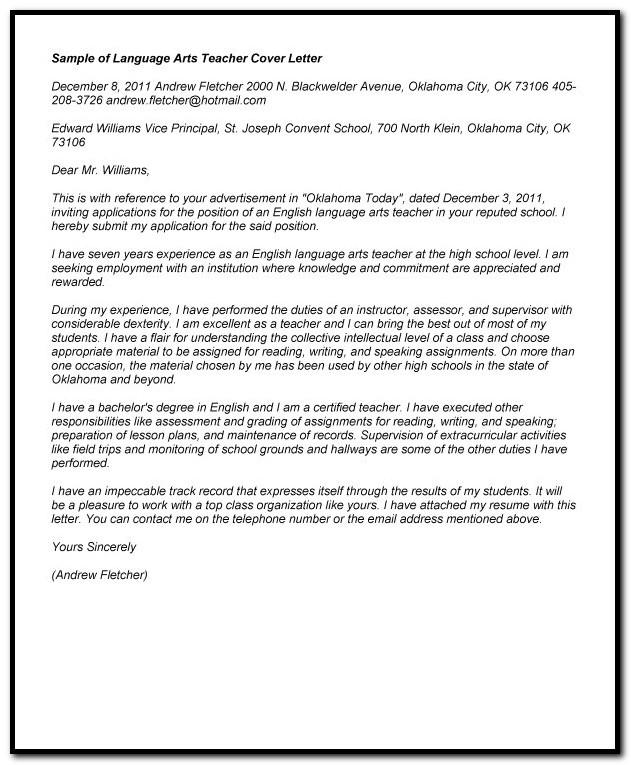 Sample Cover Letter For English Language Teacher Cover-letter