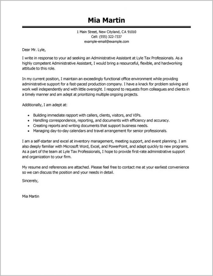 Sample Resume And Cover Letter For Administrative Assistant Cover