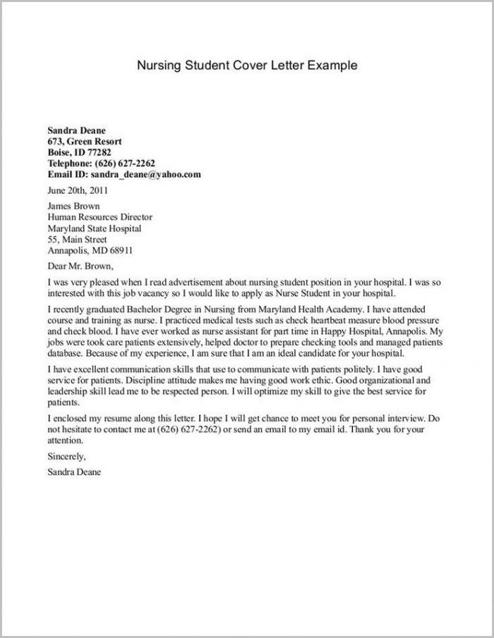 Sample Resume Cover Letter For Nursing Student Cover-letter  Resume