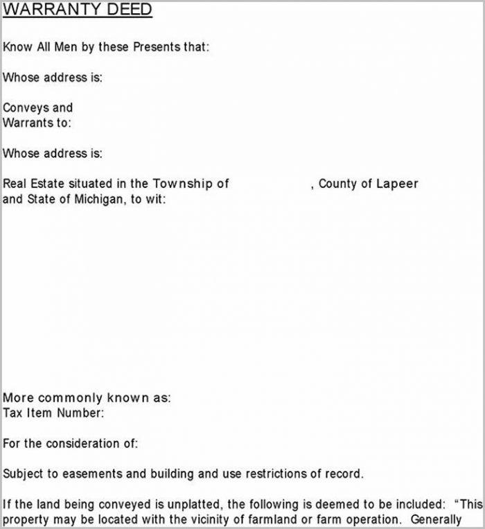 Michigan Warranty Deed Statutory Form Form  Resume Examples