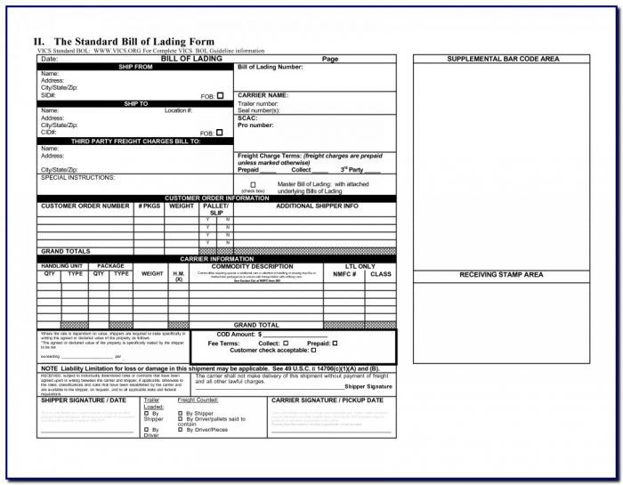 Bill Of Lading Short Form Not Negotiable Template Templates-1