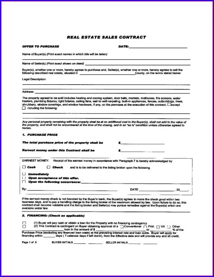Commercial Real Estate Contract Template Templates-1  Resume Examples