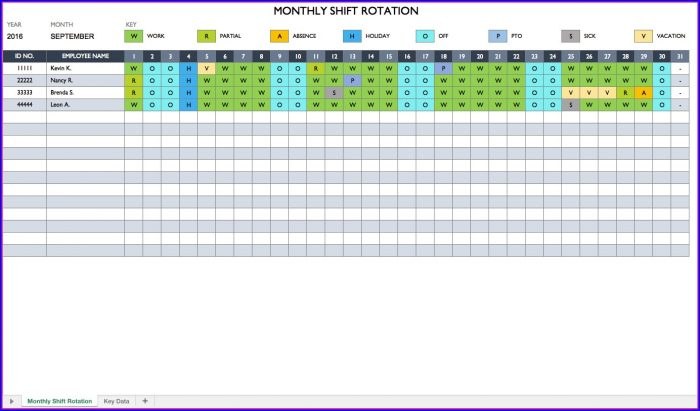 Excel Employee Rotation Schedule Template Templates-1  Resume Examples