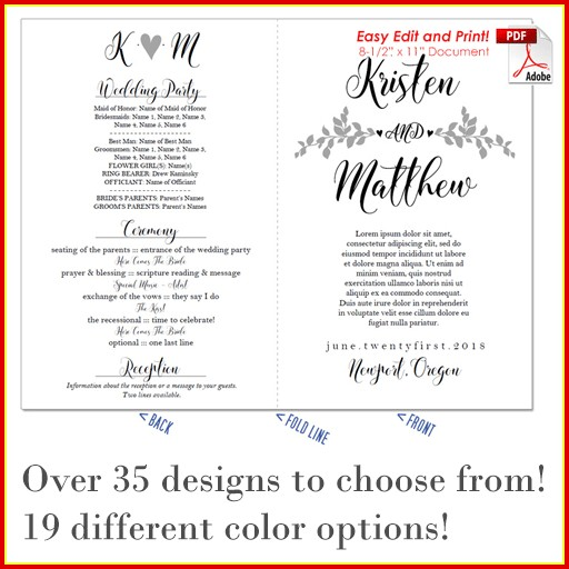 Free Wedding Program Template That Can Be Printed Templates-1