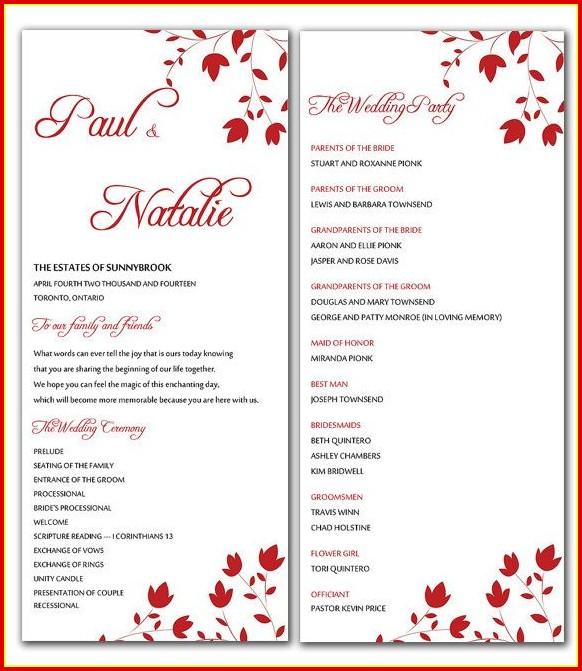 Free Downloadable Wedding Program Templates Microsoft Word Templates