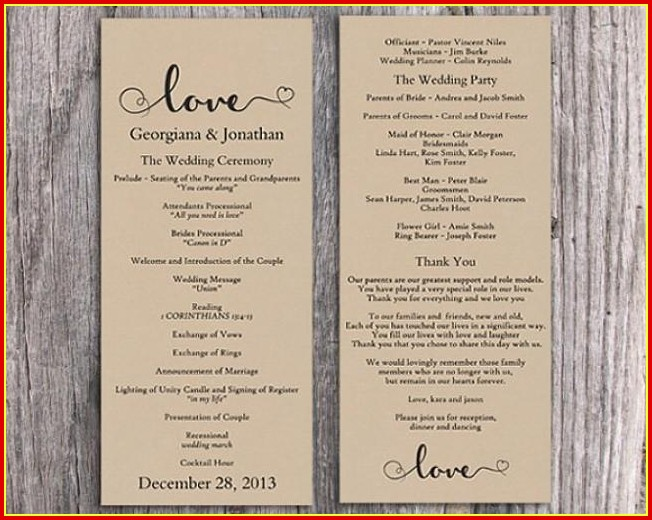 Free Printable Wedding Program Templates Word Templates-1  Resume