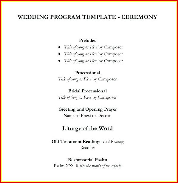 Free Simple Wedding Program Templates Templates-1  Resume Examples