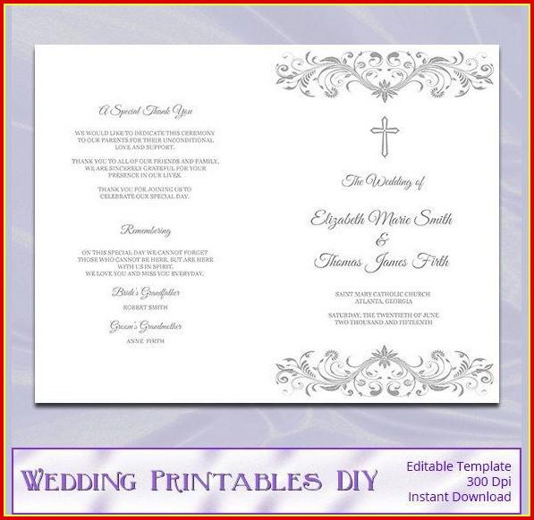 Free Catholic Wedding Program Template Without Mass Templates-1
