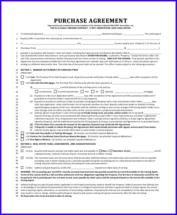 Real Estate Purchase Agreement Template Indiana Templates-1  Resume