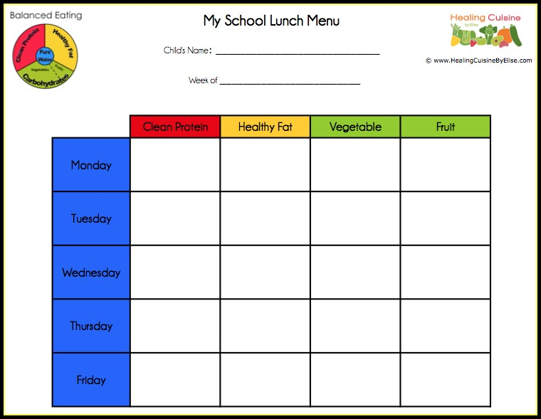 School Lunch Menu Template Free Templates-1  Resume Examples