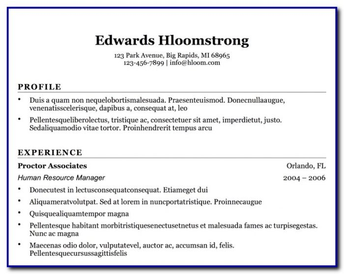 Simple Resume Templates Free Download For Microsoft Word Templates-1