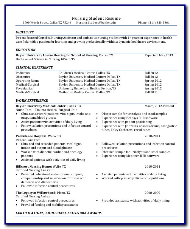 Nursing Student Resume Template Free Templates-1  Resume Examples