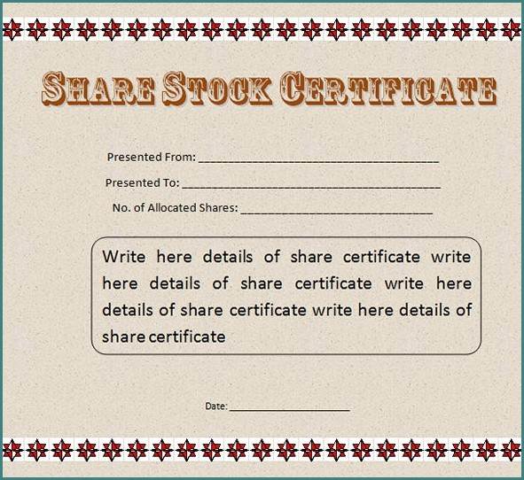 Stock Certificate Template Word Templates-1  Resume Examples