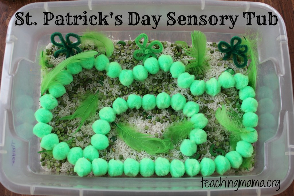 St. Patrick's Day Sensory Tub. Click for more colorful #stpatrick sensory bins