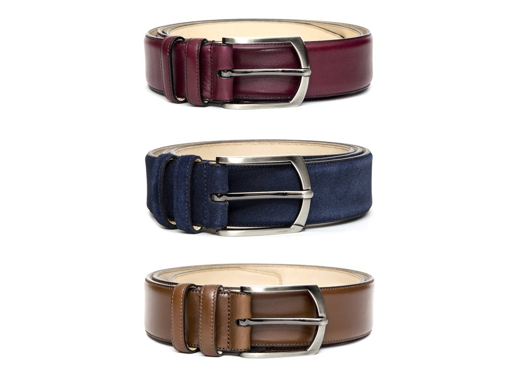 LEATHER AND SUEDE BELTS. 3 FOR £200 (ex vat £166.67 -- ROUGHLY $215) AT WWW.THESNOBSNOB.COM