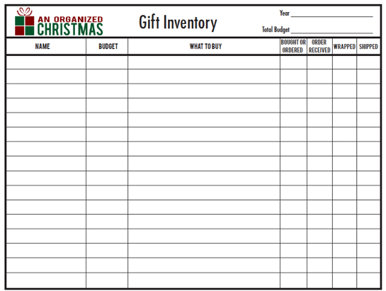 An Organized Christmas Part 6 Gift Inventory {Free Printable} - inventory sheets printable