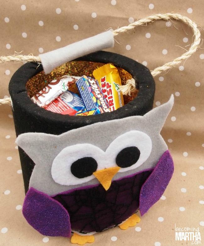 Felt Owl DIY Halloween Treat Bucket - The Simply Crafted Life