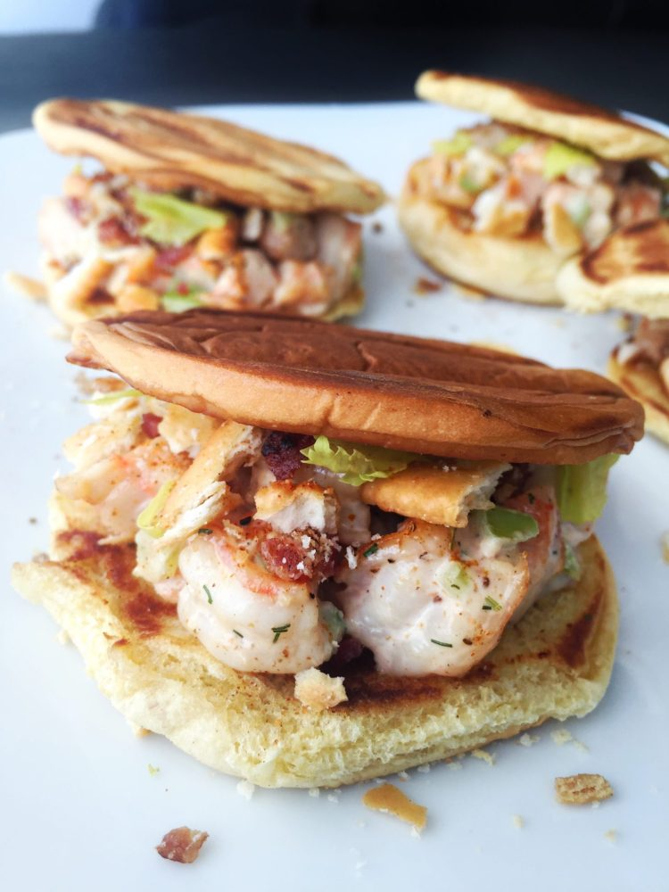 Shrimp Roll Toast Sandwiches with Bacon & Ritz Cracker Topping | The ...