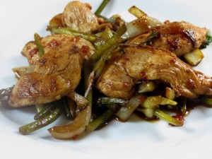 Pork works well with garlic scapes