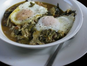 Eggs poached in one of our favorite garden stews